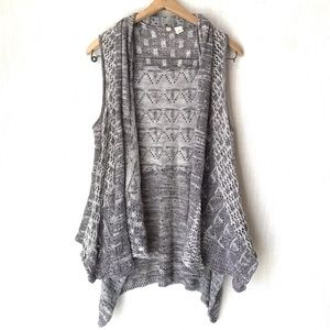 Anthro Moth Open Front Sleeveless Gray Cardigan